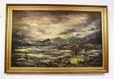 """grande huile sur toile Georges Cologon  """" bateau à marée basse"""""""