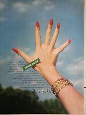 1959 Charles Ritz Nail Polish Hand Fingernails Bracelet Original Print Ad