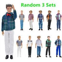 3 Sets Ken Doll Clothes Accessories Men Outfits Shirt Suits For Barbie Boyfriend