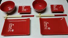 Sushi Sets 10 Piece Elegant Red OR Black Ceramic Essence of Asia Design for 2