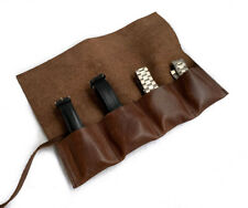 Leather Watch Roll Vintage Brown for Travel & Storage