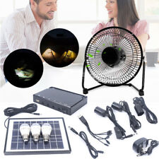 Portable Solar Panel Power Storage Generator Led Light Charger Home Garden+Fan