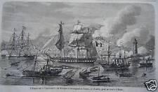 GRAVURE SUR BOIS 1864 TRIESTE Empereur IMPERATRICE MEXIQUE EMBARQUENT A TRIESTE