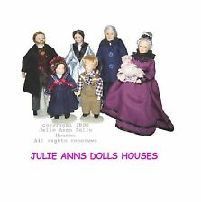 1:12th SCALE FAMILY OF SEVEN PEOPLE DOLLS HOUSE MINIATURE, VERY CUTE JULIE ANNS