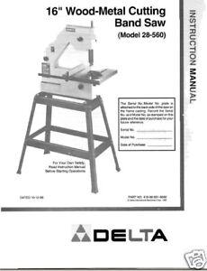 "Delta 16"" Band Saw Instruction Manual Model # 28-560"