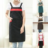 Women Casual Solid Cooking Chef Kitchen Restaurant Bib Apron Dress Pocket Apron