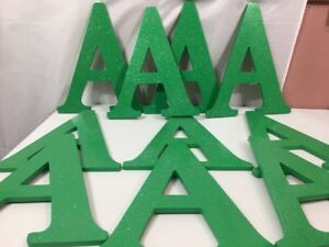 """Alexis Company  12"""" A Wood Glitter Letter Green Bright Color 10 Pieces"""