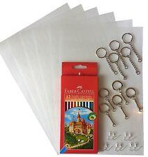 Set Schrumpffolie Schrumpffolieplatten mit Buntstiften Schlüsselringen Ohrhaken