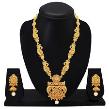 Long Indian Traditional Ethnic Gold Plated Necklace Earrings Wedding Jewelry Set