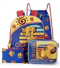 Disney Lion King Simba Backpack Lunch Kit Tote School Book Bag 5 Pc Set Case