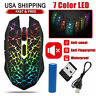 Wireless USB Optical Mice Gaming Mouse 7 Color LED Backlit Rechargeable For PC M