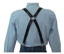 Black Leather Suspenders Silver Ring X Back with scissor snaps SaLE