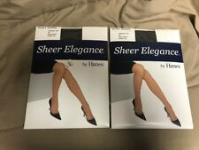 2 pair Hanes Sheer Elegance Silky Sheer  pantyhose AB Black Shadow Control Top
