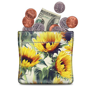 LEATHER Squeeze COIN CHANGE Pouch Purse Wallet Change Holder for Woman Girls