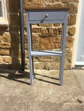 H80cm W45 D20 BESPOKE CONSOLE STAND TABLE DRAWER Vessel Grey REAL OAK TOP
