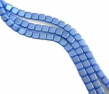 Sapphire 6mm Square Glass Czech Two Hole Tile Bead 25 Beads