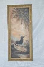 Vintage Oil Painting on Canvas 19x34  Animals Painting ELK Framed