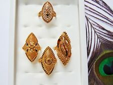 4 Pcs Ring Set Indian Wedding Gold Plated Finger Rings Party Wear Asian Jewelry