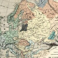 Ethnographic map of Europe Races of Mankind Ethnology 1855 Dufour scarce old map