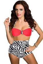 Womens Ladies Girl Sexy Retro Push-up Pin Up Padded High Waisted Bikini Swimsuit