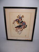 Vintage Native American Indian Dance Watercolor Painting Signed Mark