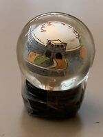 Glass Ball Hand Painted Inside With Wood Stand Vintage