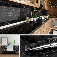 Livelynine Black Marble Wall Paper for Kitchen Counter Top Covers Peel and Stick