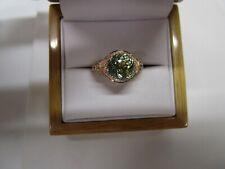 EXQUISITE LEVIAN 14 KT GOLD 4.35 CTW MINT GREEN TOURMALINE & DIAMOND RING !!!