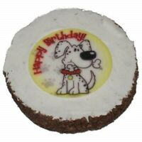 Dog Birthday Cake Hatchwells Dog Treat 4in dia x 3/4in thick