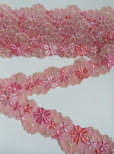 """1-5/8"""" Rose Pink / Coral Embroidered Flower Net Lace Trim -2 Yards-T764"""
