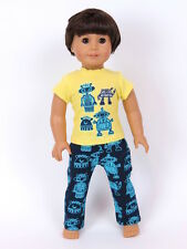 "Robot Pajamas Fits American Girl Boy 18"" Doll Clothes"