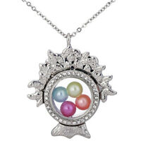 """Plant Tree Glass Beads Cage Memory Floating Locket 20"""" Necklace Steel Chain"""