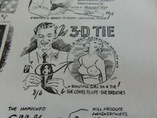 1950s Magic Tricks 4 page pamphlet . 3D Boobs Tie Tricks Etc