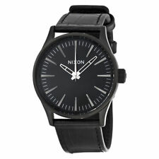 Nixon Sentry 38 Black Dial Black Leather Men's Watch