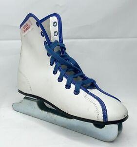 """Lake Placid White & Blue 7 1/4"""" Double Blade Ice Skates Youth Size 13"""