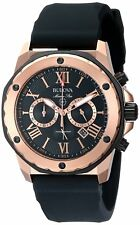 Bulova Marine Star Men's 98B104 Quartz Chronograph Black Rubber Strap 44mm Watch