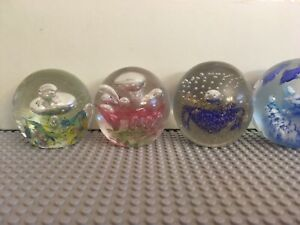 Decorative Crystal/glass Ball X 4. With Light Turning Base.