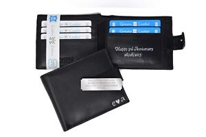 Personalised Black Luxury Soft Quality Genuine Leather Wallet Purse Card Holder