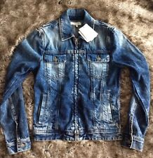 £835 PIERRE BALMAIN Distressed Denim Jacket IT46 Small-Made in ITALY