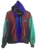 Vtg 90s Nike Flight Jacket Colorblock Hooded M Medium Nylon Windbreaker Coat