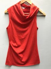 Helmut Lang P Top Womens Shirt Red Orange Draped Blouse Asymmetrical Wool Petite