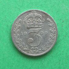 1909 Edward VII Silver Threepence 3d SNo44924