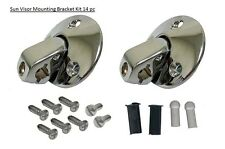 Sunvisor Support Brackets 14pc Kit chrome w/ screws bushing tips coupe sun visor