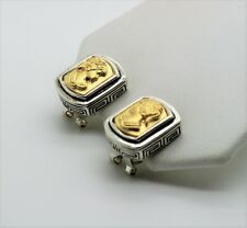 Unique Designer style Two tone  woman face Omega Latch Fashion Earrings  A223