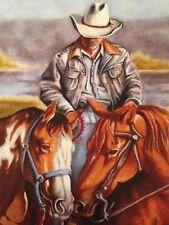 "Happy Trails Western Cowboy Quilt Square Cotton 11 1/2"" x 10 1/2"" BIN"