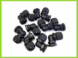 IP68 WATERPROOF 90 Angle CABLE GLANDS BLACK NYLON PG9 PG11 PG13.5 ELBOW STYLE