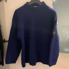 Stone Island Vintage Mock Neck Sweater Royal Blue Size XL Green Edged Badge