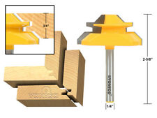"""45 Degree - Up to 3/4"""" Stock Lock Miter Router Bit - 1/4"""" Shank - Yonico 15127q"""