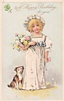 HAPPY BIRTHDAY GREETING TO YOU-VICTORIAN GIRL- JACK RUSSELL TERRIER DOG POSTCARD