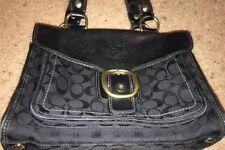 "Coach Handbag Black Vachetta Bleecker Tattersall Shoulder Bag F11435 9"" X 12"""